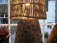 Denim Elipse Button Lamp Small with Rattan Shade £150 SOLD One similar ( no buttons) currently available