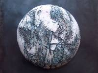 Earth Button Ceramic and Steel Two available as Earth Button I and Earth Button II  Size  H 20 in x W 20 in x D 6in Currently available through Hope Gallery Red Brick Mill Batley WF17 6JF POA