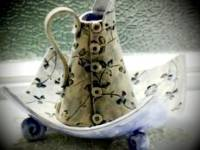 Small Cone Denim Jug with Bowl SOLD Photo Courtesy of the new owner.