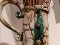 etland Range: Mirrie Dancer over The Voe DETAIL Medium Jug with Turquoise Streak Ceramic H 40cm SOLD