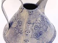 Large Kettle Jug Denim Textured Ceramic SOLD
