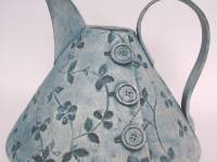 Large Kettle Jug Denim Textured Button Ceramic £120 SOLD Similar available in New year 2020