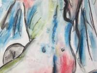 Seated Nude Acrylic wash & ink MOUNTED PRINT ONLY £48