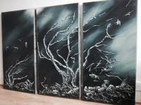 Like A Diamond -View To Wycoller Triptych Acrylic & Ceramic on Canvas H 39 inch W 60 inch. Private collection POA Please enquire